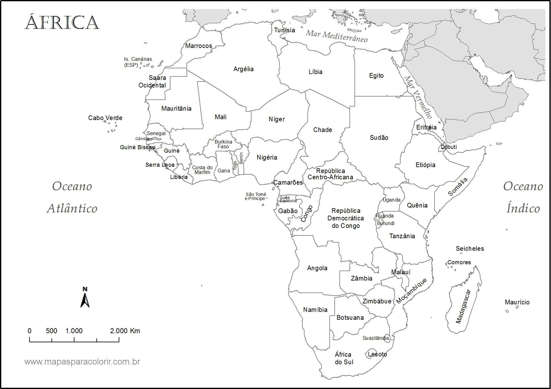 mapa africa nomes paises Mapas de Continentes para colorir mapa africa nomes paises