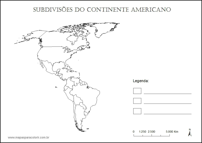 Mapa Das Subdivis  Es Da Am  Rica Para Colorir