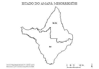 Mapa das mesorregiões do Amapá com nomes.