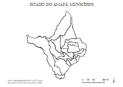 Mapa do Amapá com contorno dos municípios.