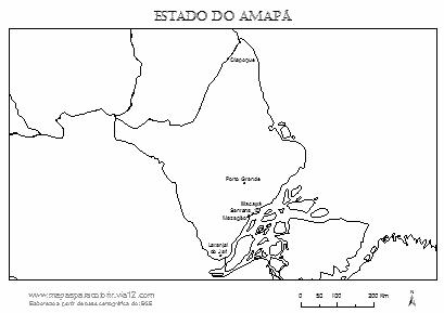 Mapa do Amapá com cidades principais.