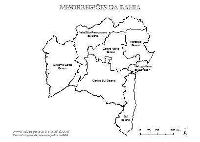 Mapa das mesorregiões da Bahia com respectivos nomes.