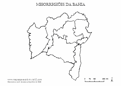 Mapa da Bahia com contorno das mesorregiões.