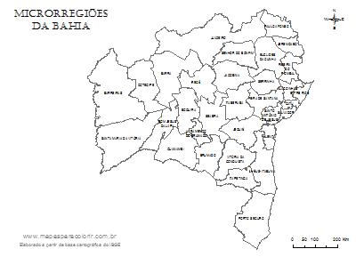 Mapa de microrregiões da Bahia com nomes.