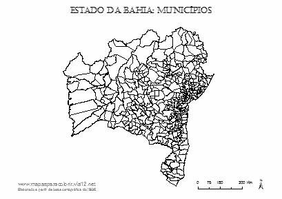 Mapa da Bahia com contorno dos municípios.