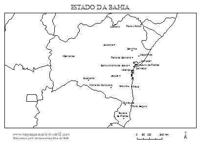 Mapa da Bahia com municípios principais.