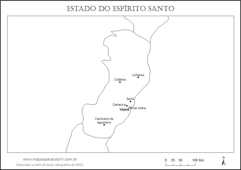 mapa do espÍrito santo mapas para colorir