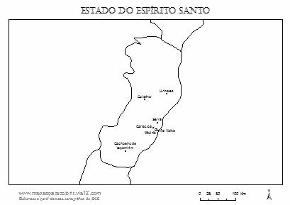 Mapa do Espírito Santo com cidades principais.