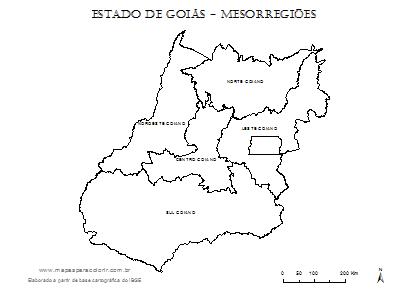 Mapa de Goiás com divisão das mesorregiões.