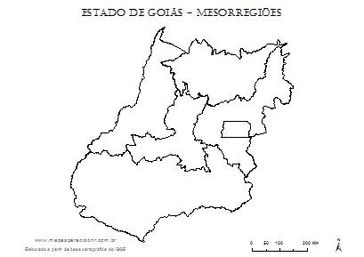 Mapa de Goiás com divisão das mesorregiões para completar com nomes.