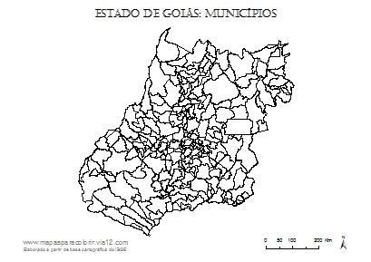 Mapa de Goiás com contorno dos municípios.