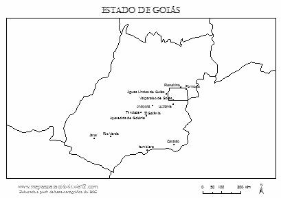 Mapa de Goiás com cidades principais.