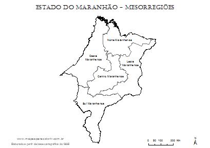 Mapa de mesorregiões do Maranhão.