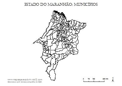 Mapa do Maranhão com contorno dos municípios.