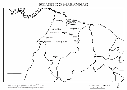 Mapa do Maranhão com cidades principais.