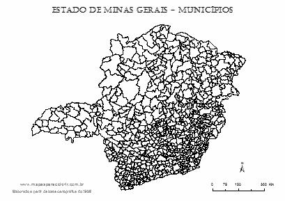 Mapa de Minas Gerais com contorno dos municípios.