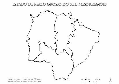 Mapa das mesorregiões de Mato Grosso do Sul para colorir e completar com nomes.