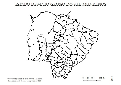 Mapa de Mato Grosso do Sul com contorno dos municípios.
