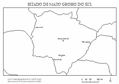 Mapa de Mato Grosso do Sul com cidades principais.