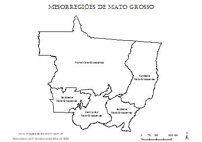 Mapa de mesorregiões de Mato Grosso para colorir.