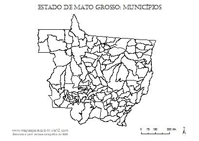 Mapa de Mato Grosso com contorno dos municípios.