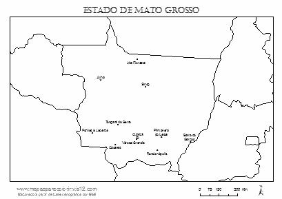 Mapa de Mato Grosso com cidades principais.