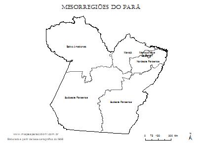 Mapa de mesorregiões do Pará para colorir.