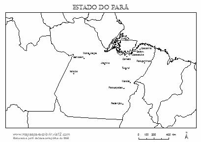 Mapa do Pará com cidades principais.