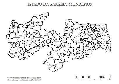 Mapa da Paraíba com contorno dos municípios.