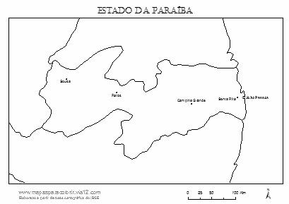 Mapa da Paraíba com cidades principais.