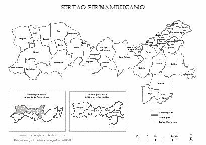 Mapa da Mesorregião Sertão Pernambucano com microrregiões, municípios e localização no estado.