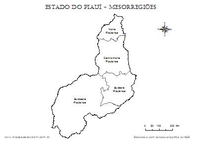 Mapa do Piauí dividido em mesorregiões com nomes.
