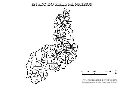 Mapa do Piauí com contorno dos municípios.