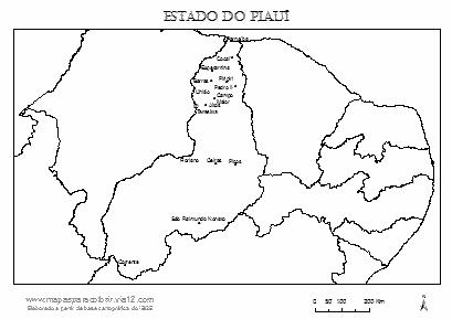 Mapa do Piauí com cidades principais.