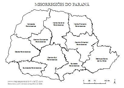Mapa das mesorregiões do Paraná com seus respectivos nomes.