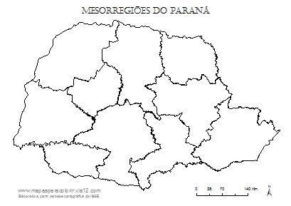 Mapa das mesorregiões do Paraná.