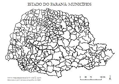 Mapa do Paraná com contorno dos municípios.