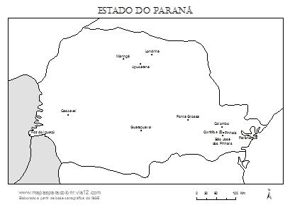 Mapa do Paraná com cidades principais.
