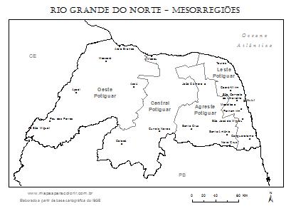 Mapa do Rio Grande do Norte dividido em mesorregiões com nomes.