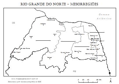 Mapa do Rio Grande do Norte dividido em mesorregiões para completar com nomes.