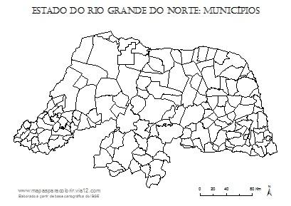 Mapa do Rio Grande do Norte com contorno dos municípios.