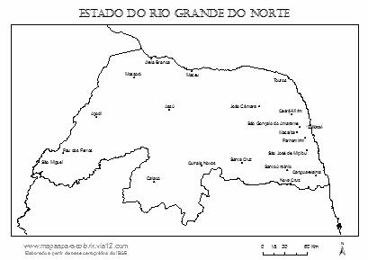 Mapa do Rio Grande do Norte com cidades principais.