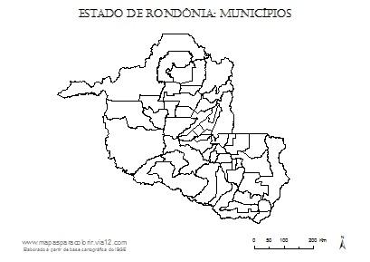 Mapa de Rondônia com contorno dos municípios.
