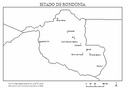 Mapa de Rondônia com cidades principais.