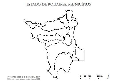Mapa de Roraima com contorno dos municípios.