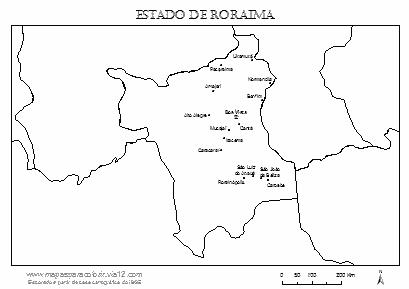 Mapa de Roraima com nomes das cidades.