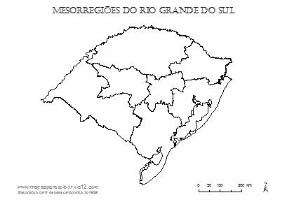 Mapa das mesorregiões do Rio Grande do Sul.