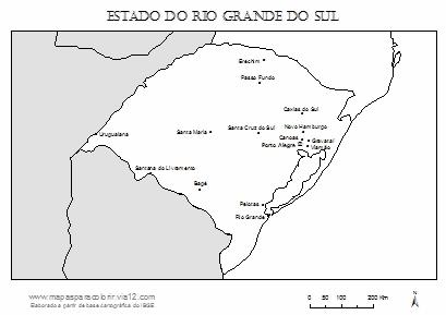 Mapa do Rio Grande do Sul com cidades principais.