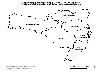 Mapa das mesorregiões de Santa Catarina com seus respectivos nomes.