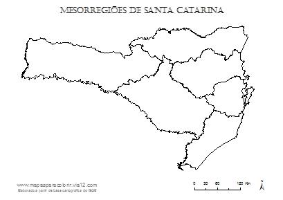 Mapa das mesorregiões de Santa Catarina.